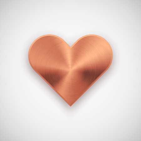 Bronze abstract heart sign badge, Valentines day blank button template with metal texture, chrome, steel, silver, copper, realistic shadow and light background. 14th february. Vector illustration.