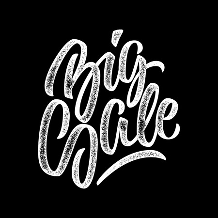 italic: White Big Sale handmade lettering, graffiti style italic calligraphy with film grain, noise, dotwork, grunge texture for logo, design concepts, banners, labels, prints, posters. Vector illustration.