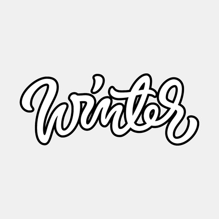 italic: White winter handmade lettering, graffiti style italic calligraphy with outlines for logo, design concepts, banners, labels, prints, posters, web, presentation, stickers. Vector illustration. Illustration