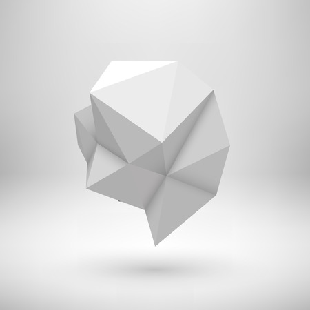 ambience: White abstract shape with low-poly, polygonal triangular mosaic texture and realistic shadow for design concepts, web, presentations and prints. Realistic 3D render design. illustration.