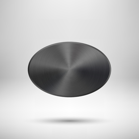oval shape: Black abstract geometric shape, ellipse, oval badge, blank button template with metal texture, realistic shadow, light background for  interfaces, UI, applications, apps. illustration.