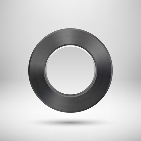 titan: Black abstract circle badge, blank button template with metal texture (silver, steel), realistic shadow and light background for web interfaces, UI, applications and apps. illustration. Illustration