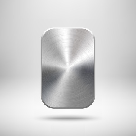 blank button: Abstract rectangle badge, blank button template with metal texture ( silver, steel), realistic shadow and light background for user interfaces, UI, applications and apps. illustration. Illustration