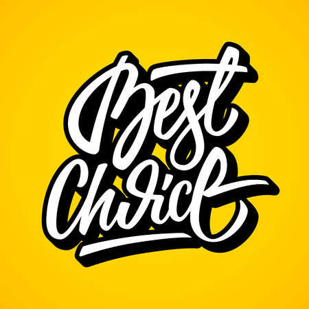 italic: White best choice lettering, graffiti style italic calligraphy with outline and 3d block blended shade for  design concepts, labels, prints, stickers. illustration.