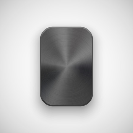 rectangle button: Black abstract geometric shape, rectangle badge, blank button template with metal, texture,  applications, apps. illustration.