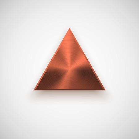 titan: Bronze abstract triangle badge, technology blank button template with metal texture ( steel), realistic shadow and light background for interfaces, UI, applications, apps. illustration.