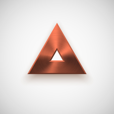 titan: Bronze abstract triangle badge, technology blank button template with metal texture ( steel), realistic shadow and light background for interfaces, UI, applications, apps.illustration.
