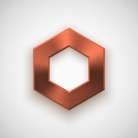 titan: Bronze abstract polygon, hex badge, technology blank button template with metal texture ( steel), realistic shadow and light background for interfaces, applications, apps. illustration.