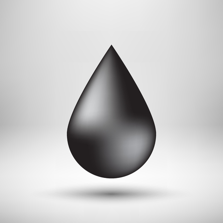 light reflex: Black oil drop, bubble badge, realistic icon template with reflex, realistic shadow and light background for  design concepts,  applications, apps, presentations. illustration.