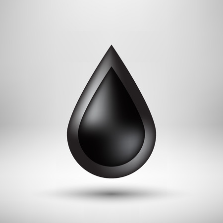light reflex: Black oil drop, bubble badge, realistic icon template with reflex, realistic shadow and light background for design concepts, applications, apps, presentations. illustration. Illustration