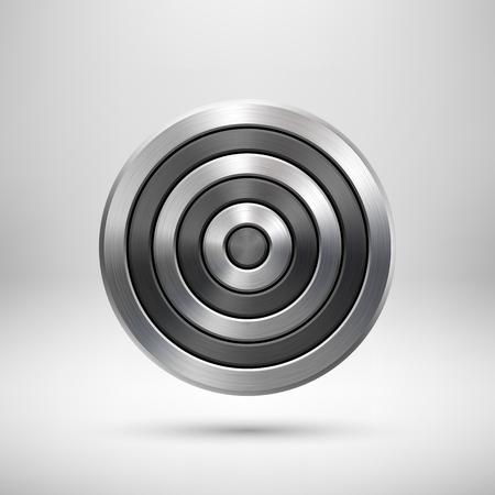 malla metalica: Resumen círculo insignia geométrica, la tecnología plantilla de botones perforada con textura de metal, plata, acero y sombra realista para los conceptos de diseño, interfaces, aplicaciones. ilustración. Vectores