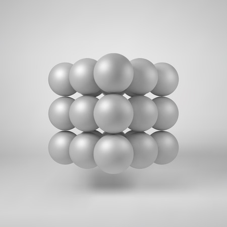 array: White abstract array with pearl spheres, atom, molecule grid with realistic shadow and light background for  design concepts, web, presentations and prints. 3D render design. illustration.