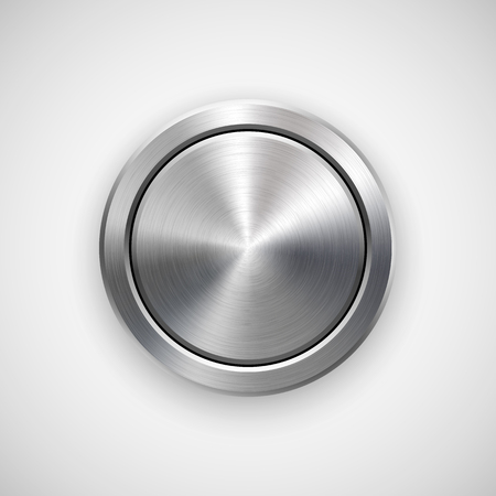 Abstract circle geometric badge, technology perforated button template with metal texture
