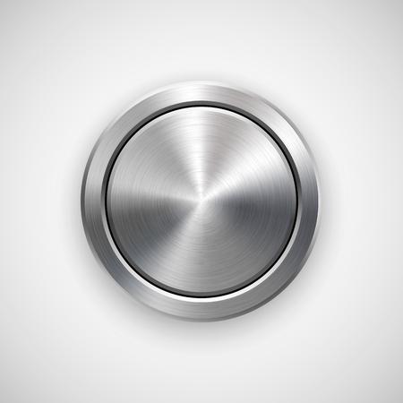 Abstraktní geometrické kruh odznak, technologie perforované tlačítko šablona s kovovou texturu Ilustrace