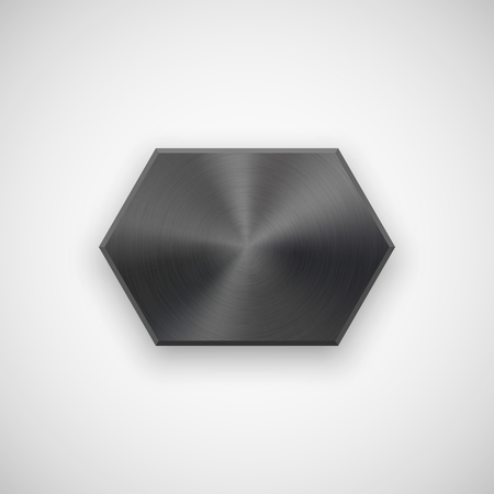 blank button: Black abstract technology geometric badge, blank button template with metal texture