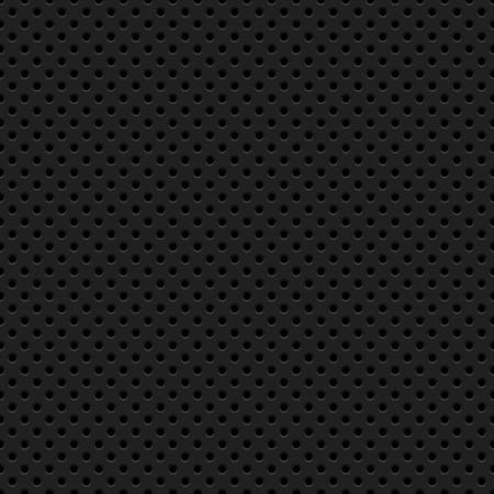 Fondo de tecnología abstracto negro con patrón perforado círculo transparente, textura de parrilla de altavoz para conceptos de diseño, fondos de pantalla, web, presentaciones, interfaces y grabados. Ilustración vectorial Ilustración de vector