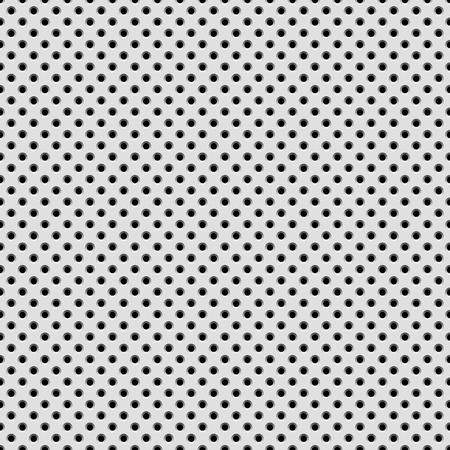 Fondo blanco abstracto con la tecnología patrón perforado círculo sin fisuras, altavoz Textura de la parrilla para los conceptos de diseño, fondos de escritorio, web, presentaciones, interfaces y grabados. Ilustración del vector.