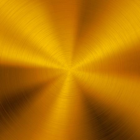 L'oro tecnologia sfondo astratto con texture lucido, metallo circolare spazzolato, cromo, argento, acciaio, alluminio per concetti di design, web, manifesti, sfondi e stampe. Illustrazione vettoriale.