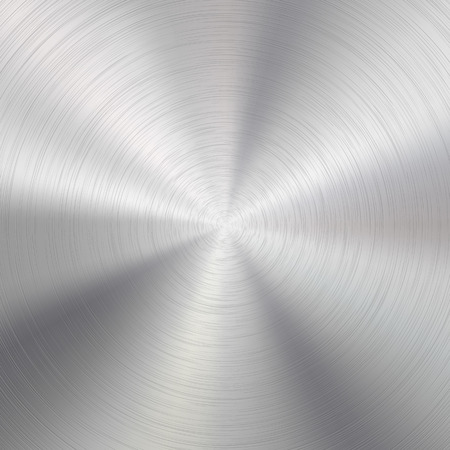 brushed aluminum background: Abstract technology background with polished, brushed circular metal texture, chrome, silver, steel, aluminum for design concepts, web, prints, posters, wallpapers, interfaces. Vector illustration.