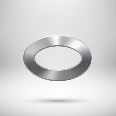 chrome: Abstract donut, technology ellipse, oval ring badge, blank button template with metal texture, chrome, silver, steel and realistic shadow for logo, design concepts, web, UI, apps. Vector illustration. Illustration