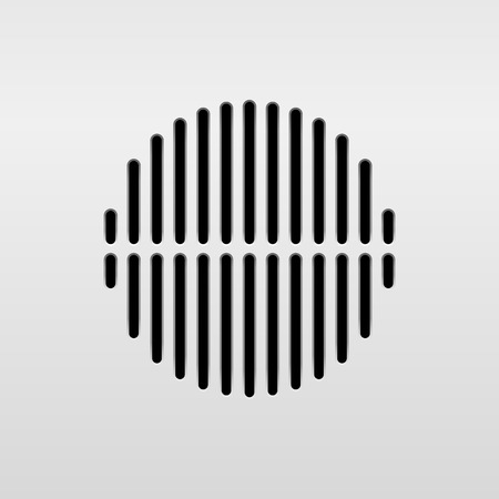 interface design: Abstract audio speaker template, dynamic with perforated grill pattern and white background for design elements, web, prints, apps, UI. Vector illustration. Illustration