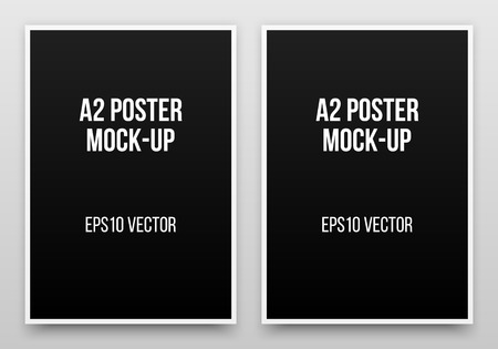 a2: A2 black posters realistic template, mock-up with margins, realistic shadow and light background for design concepts, presentations, web, identity, prints. Vector illustration.