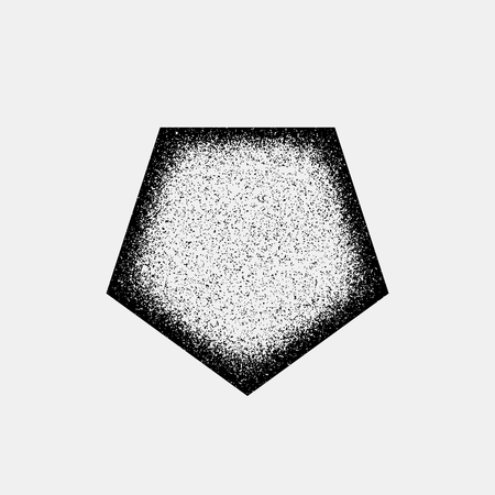 infrared: Black abstract geometric badge, polygon, hex shape with film grain, noise, dotwork, grunge texture and light background for logo, design concepts, posters, banners, web and prints. Vector illustration Illustration