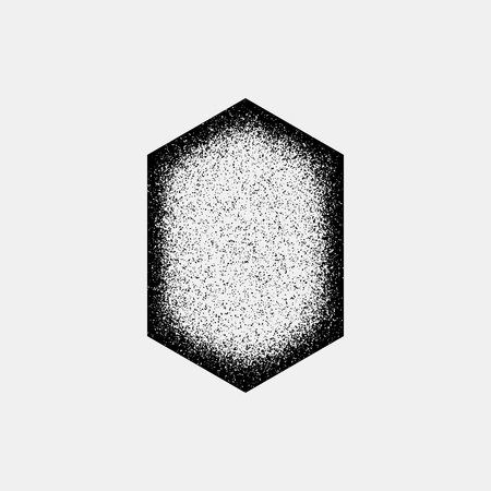 infrared: Black abstract geometric badge, polygon, hex shape with film grain, noise, dotwork Illustration