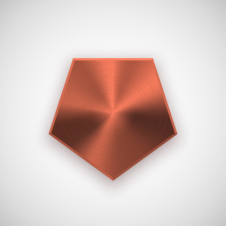 iron ribbon: Bronze abstract polygon, hex badge, blank button template with metal texture