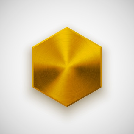 blank button: Gold abstract polygon, hex badge, technology blank button template with metal texture Illustration