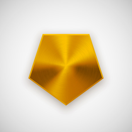 blank button: Gold abstract polygon, hex badge, blank button template with metal texture