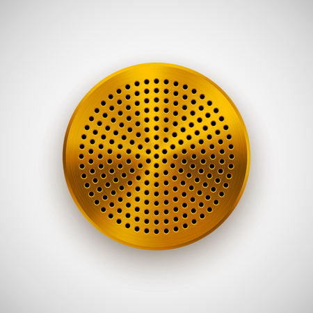speaker grill: Gold abstract circle badge, audio button template with circle perforated speaker grill pattern