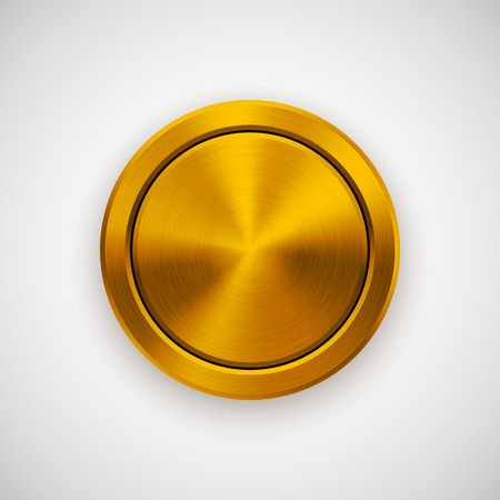circle objects: Gold abstract circle geometric badge, technology perforated button template with metal texture