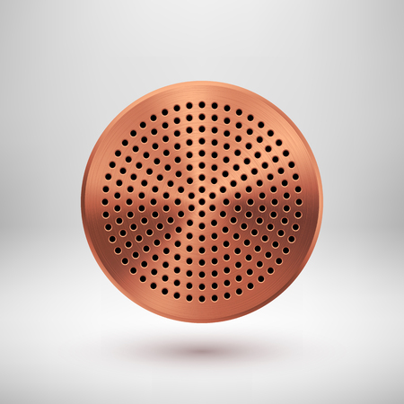 speaker grill: Bronze abstract circle badge, audio button template with circle perforated speaker grill pattern, metal texture, chrome, silver, steel, copper, shadow, design, web, apps. Vector illustration.