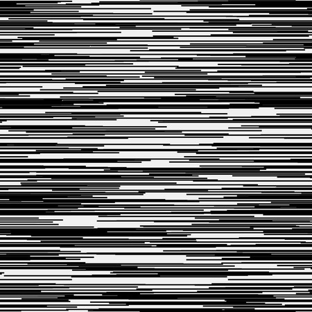 horizontal lines: Abstract background with glitch effect, distortion, seamless texture, random horizontal black and white lines for design concepts, posters, banners, web, presentations and prints. Vector illustration.