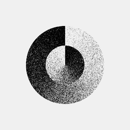 infrared: Black abstract geometric shape, circle badge with film grain