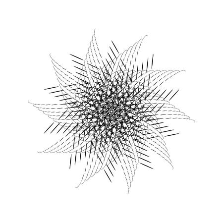 Nero frattale astratto, spirale, la rotazione, la forma riflessione ripetere con sfondo bianco, concetti di design, manifesti, striscioni, carta da parati, presentazioni, web e stampa. Illustrazione vettoriale.