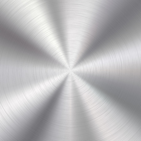 brushed aluminum: Abstract technology background with polished, brushed circular metal texture, chrome, silver, steel, aluminum for design concepts, web, prints, posters, wallpapers, interfaces. Vector illustration.