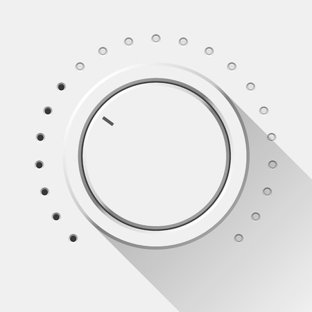 volume knob: White technology music button, volume knob with flat designed shadow, range scale and light background for internet sites, web user interfaces, UI, applications, apps. Vector illustration. Illustration