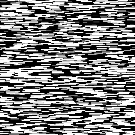 lag: Abstract background with glitch effect, distortion, seamless texture, random horizontal black and white lines for design concepts, posters, banners, web, presentations and prints. Vector illustration.