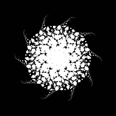 White abstract fractal, spiral, rotation, repeat reflection shape with black background, design concepts, posters, banners, wallpapers, presentations, web and prints. Vector illustration.