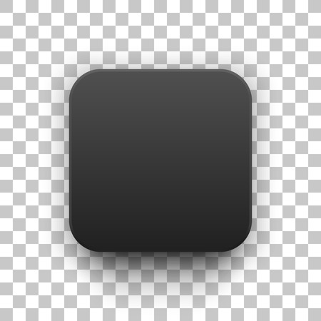 black button: Black abstract app icon, blank button template with realistic shadow and transparent background for design concepts