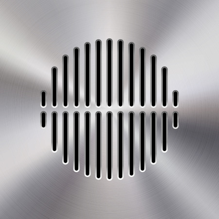 polished: Audio speaker template, dynamic with perforated grill pattern and polished