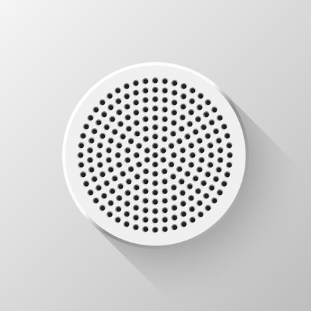 blank button: White abstract circle geometric badge, technology perforated blank button template with flat designed shadow, design concepts, interfaces, web, apps. Vector illustration. Illustration