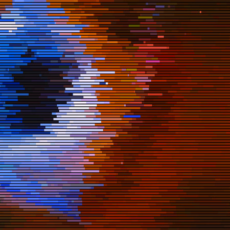 Glitch abstract background with distortion effect, random horizontal orange and blue color lines for design concepts, posters, wallpapers, presentations and prints. Vector illustration.