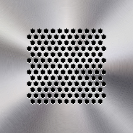 Audio speaker template, dynamic with perforated grill pattern and polished, circular metal texture, chrome, silver, steel, aluminum for design concepts, web, apps, interfaces, UI. Vector illustration.