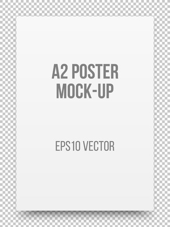 a2: A2 white poster realistic template, mock-up with margins, realistic shadow and transparent background for design concepts, presentations, web, identity, prints. illustration.