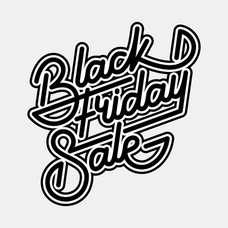 Black Friday Sale badge with  lettering, calligraphy with outlines and light background for labels, prints, posters, web, presentation.  illustration. Illustration
