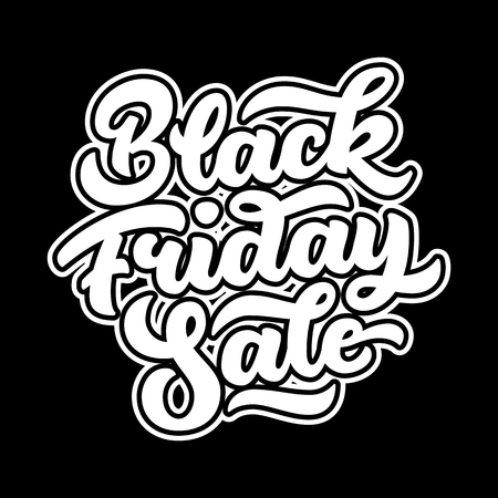 Black Friday Sale badge with lettering, calligraphy with outlines and dark background for  labels, prints, posters, web, presentation. illustration.
