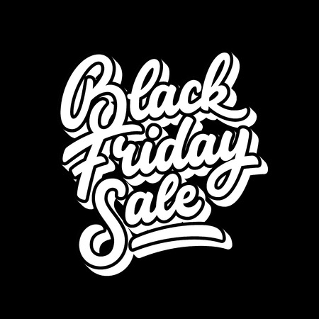 Black Friday Sale handmade lettering, 3d oblique calligraphy with block blended white shade and dark background for  labels, badges, posters, web, presentation. illustration. Illustration
